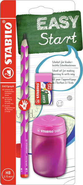 EASYgraph School Set Right handed pink set (1EASYgraph pencil, EASYsharpener and EASYeraser) picture