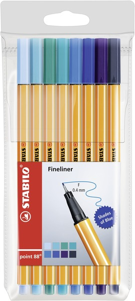 STABILO point 88 fineliner - wallet of 8 shades of blue picture