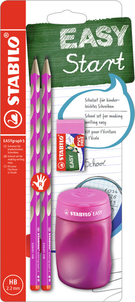 EASYgraph S School Set Right handed pink set (2 EASYgraph S pencils, 1 EASYsharpener and EASYeraser) picture