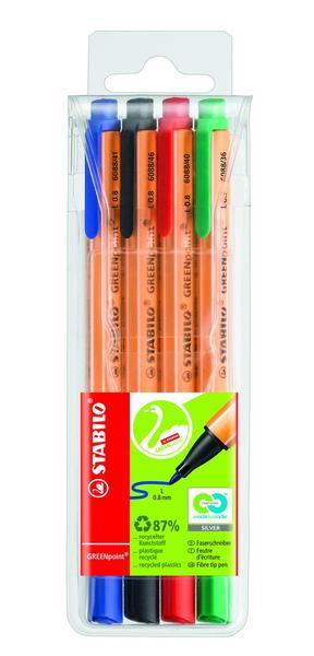 STABILO GREENpoint fibre-tip pen - wallet of 4 colours picture