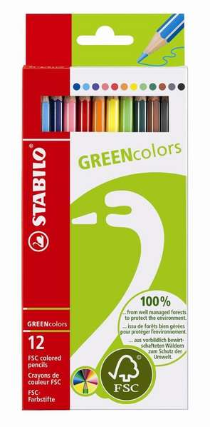 STABILO GREENcolors FSC-certified coloured pencil cardboard wallet of 12 colours picture