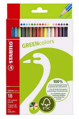STABILO GREENcolors FSC-certified coloured pencil cardboard wallet of 18 colours picture