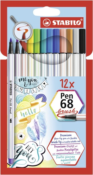 STABILO Pen 68 brush card wallet of 12 picture