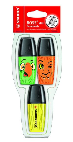 STABILO BOSS MINI Funnimals highlighter - pack of 3 colours (yellow, green, orange) picture