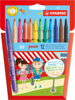STABILO power fibre-tip pen cardboard wallet of 12 colours picture