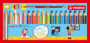 STABILO woody 3 in 1 wallet of 18 colours with sharpener and paint brush picture