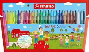 STABILO Trio A-Z fibre-tip pen with triangular grip zone cardboard wallet of 25 colours plus 5 ne picture