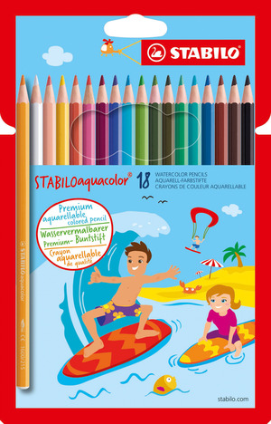 STABILOaquacolor, aquarellable coloured pencil, cardboard wallet of 18 colours picture