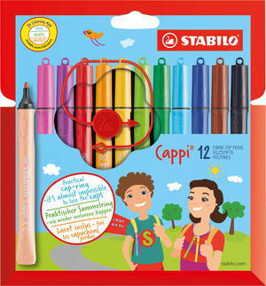 STABILO Cappi fibre-tip pen with cap-ring cardboard wallet of 12 colours picture