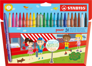 STABILO power fibre-tip pen cardboard wallet of 30 colours picture