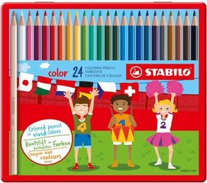 STABILO color, coloured pencil, metal box with 24 colours picture