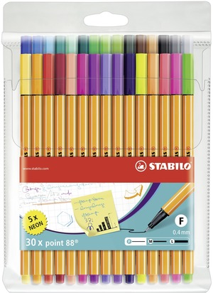 STABILO point 88 fineliner - wallet of 30 including 5 neon colours picture