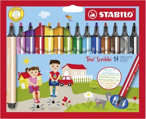STABILO Trio Scribbi triangular fibre-tip pen with spring-loaded tip cardboard wallet of 14 colours picture