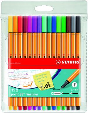STABILO point 88 fineliner - wallet of 15 colours picture
