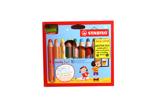 STABILO woody 3 in 1 wallet of 10 colours with sharpener and stencils picture