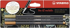 STABILO Pen 68 metallic fibre-tip pen - blister 3 - 1x silver, copper & gold picture