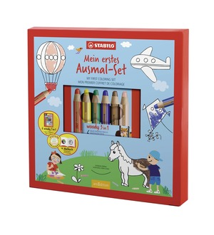 STABILO woody 3 in 1, 6 pencils with colouring book and sharpener picture