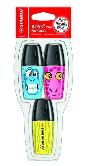 STABILO BOSS MINI Funnimals highlighter - pack of 3 colours (yellow, pink, blue) picture