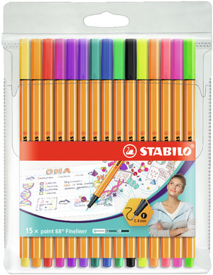 STABILO point 88 fineliner - wallet of 15 including 5 neon colours picture