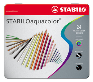 STABILOaquacolor, aquarellable coloured pencil, metal box of 24 colours picture