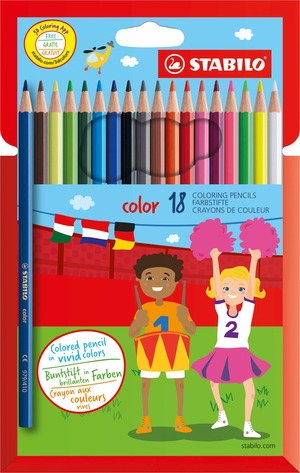 STABILO color, coloured pencil, cardboard wallet of 18 colours including 3 fluorescent colours picture