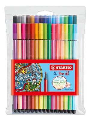 STABILO Pen 68 premium fibre-tip pen plastic wallet of 30 colours including 6 neon picture