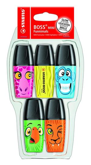 STABILO BOSS MINI Funnimals highlighter - pack of 5 colours (yellow, green, orange, pink, blue) picture