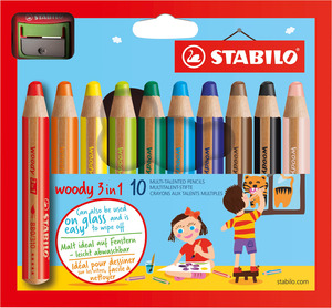 STABILO woody 3 in 1 wallet of 10 colours with sharpener picture