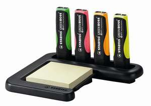 STABILO GREEN BOSS highlighter made from 83% recycled plastic - desk set of 4 colours and post-its picture