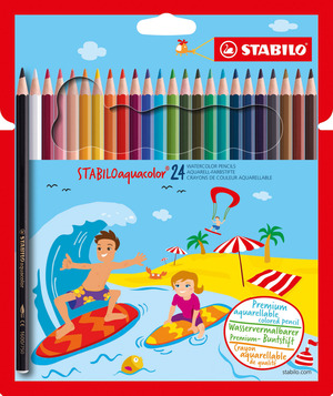 STABILOaquacolor, aquarellable coloured pencil, wallet of 24 colours picture