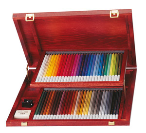 STABILO CarbOthello chalk-pastel coloured pencil wooden box of 60 colours picture