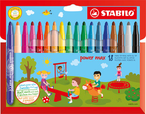 STABILO power max fibre-tip pen cardboard wallet of 18 colours picture
