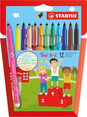 STABILO Trio A-Z fibre-tip pen with triangular grip zone cardboard wallet of 10 colours plus 2 neon picture