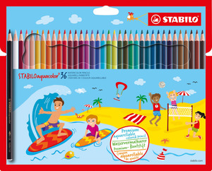 STABILOaquacolor, aquarellable coloured pencil, cardboard wallet of 36 colours picture