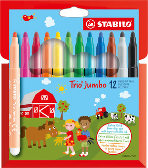 STABILO Trio Jumbo extra-thick fibre-tip pen cardboard wallet of 12 colours picture