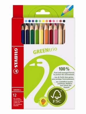 STABILO GREENtrio FSC-certified triangular coloured pencil cardboard wallet of 12 colours picture