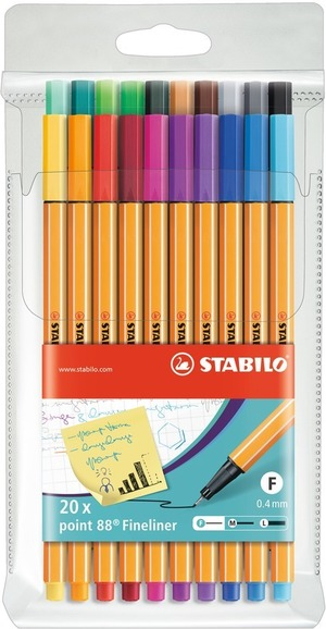 STABILO point 88 fineliner - wallet of 20 colours picture