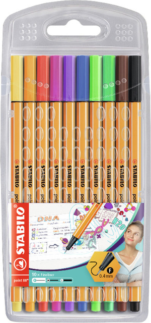 STABILO point 88 fineliner - wallet of 10 colours picture