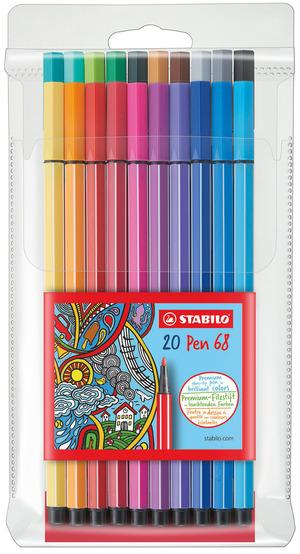 STABILO Pen 68 premium fibre-tip pen plastic wallet of 20 colours picture
