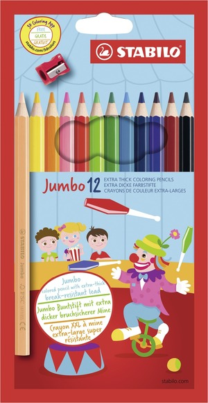 STABILO Jumbo FSC-certified coloured pencil cardboard wallet of 12 colours with sharpener picture