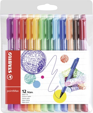 STABILO pointMax premium fineliner - wallet of 12 colours picture