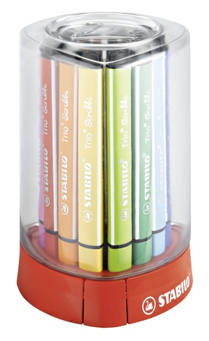 STABILO Trio Scribbi triangular fibre-tip pen with spring-loaded tip desk set with 12 colours picture