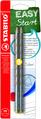 STABILO EASYgraph S metallic ergonomic pencil HB left handed Blistercard of 2pcs - silver
