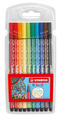 STABILO Pen 68 premium fibre-tip plastic wallet of 10 colours