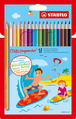 STABILOaquacolor, aquarellable coloured pencil, cardboard wallet of 18 colours