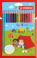 STABILO Trio triangular coloured pencil cardboard wallet of 18 colours