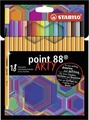 STABILO point 88 fineliner - cardboard wallet of 18 asst colours - ARTY version