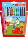 STABILO Trio A-Z fibre-tip pen with triangular grip zone cardboard wallet of 10 colours plus 2 neon