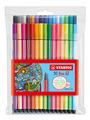 STABILO Pen 68 premium fibre-tip pen plastic wallet of 30 colours including 6 neon