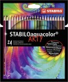 STABILOaquacolor, aquarellable coloured pencil, wallet of 24 colours - ARTY version